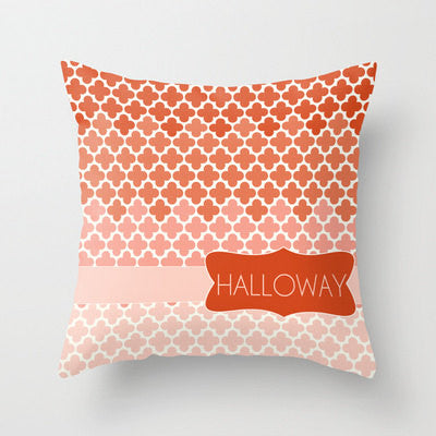 Orange Ombre Monogram Throw Pillow