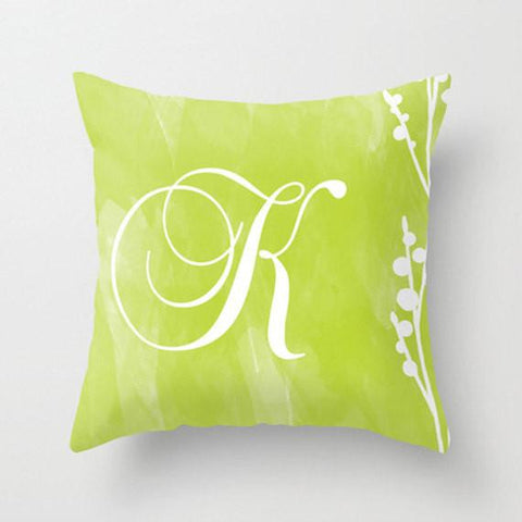 Lime Floral Monogram Throw Pillow