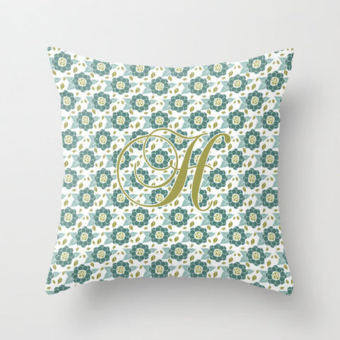 Ornate Floral Design Monogram Throw Pillow
