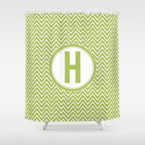 Chevron Monogram  Personalized Shower Curtain