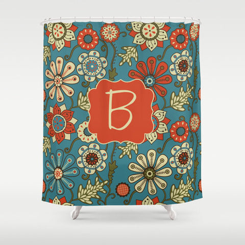 Teal & Orange Floral Personalized Shower Curtain