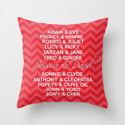 Famous Couples Monogram Throw Pillow