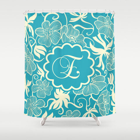 Teal Floral Monogram  Personalized Shower Curtain