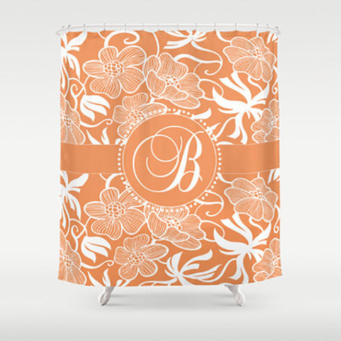 Orange Floral Monogram  Personalized Shower Curtain