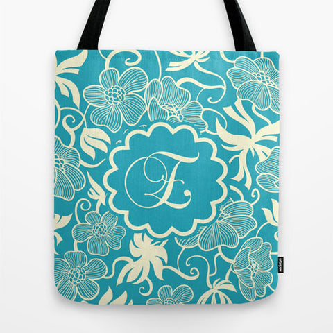 Teal Floral Pattern Monogram Tote Bag