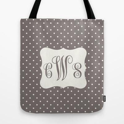 Grey Dots Tote Bag Monogram Tote Bag