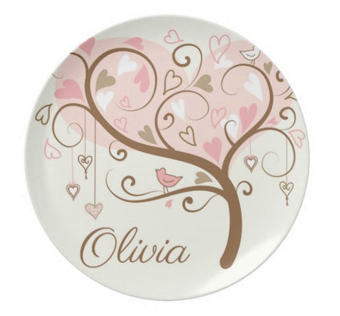 Pink Heart TreePersonalized Plate For Kids