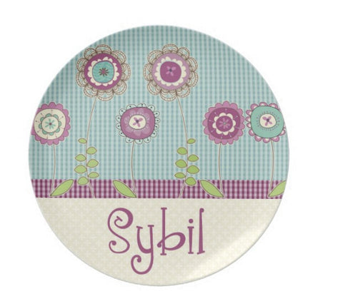 Purple Blossoms  Personalized Plate For Kids