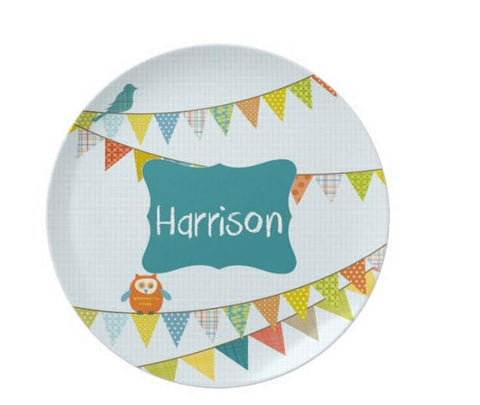 Birthday Boy Party Flags  Personalized Plate For Kids