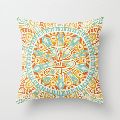 Ornate Design  Monogram Throw Pillow
