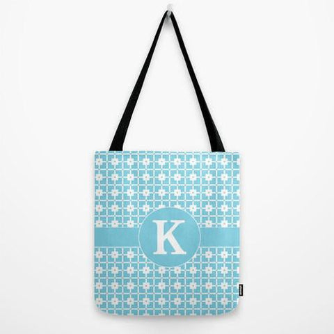 Aqua Pattern Tote Bag Monogram Tote Bag