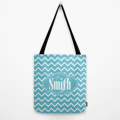 Teal Chevron Pattern Monogram Tote Bag