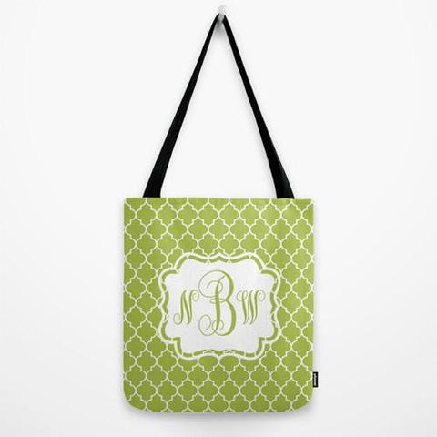 Green Moroccan Pattern Tote Bag Monogram Tote Bag
