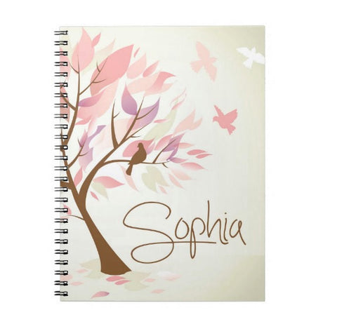 Pastel Leaves Personalized Notebook