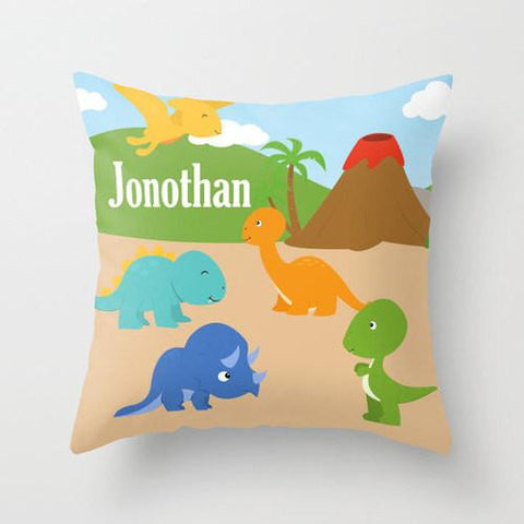 Dinosaur Land - Personalized Throw Pillow for Kids