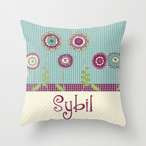 Purple Blossoms - Personalized Throw Pillow for Kids