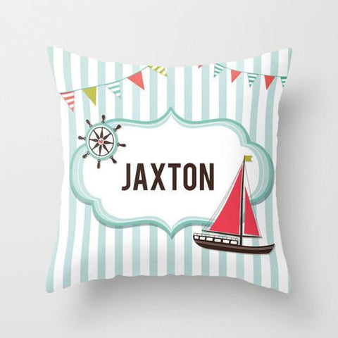 Let's Set Sail - Personalized Throw Pillow for Kids