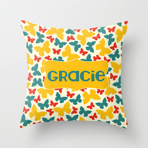 Yellow & Teal Butterflly -  Personalized Throw Pillow for Kids