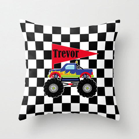 Monster Truck -  Personalized Throw Pillow for Kids