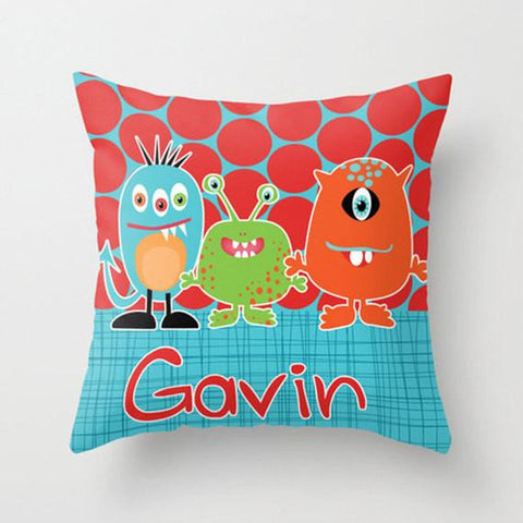 Lil Monsters -  Personalized Throw Pillow for Kids