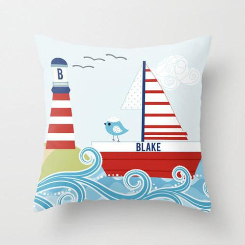 Ahoy Lighthouse - Personalized Throw Pillow for Kids