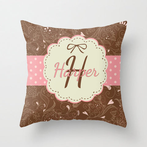 Pink & Brown Personalized Throw Pillow for Kids
