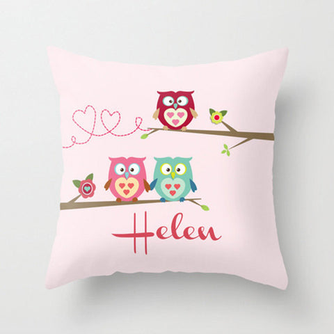 Owls on a Branch -  Personalized Throw Pillow for Kids