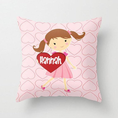 Happy Heart Girl -  Personalized Throw Pillow for Kids