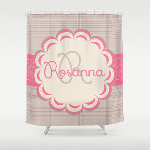 Pink & Tan Personalized Shower Curtain