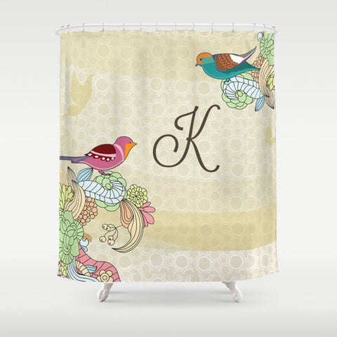 Vintage Birds  Personalized Shower Curtain