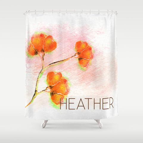 Watercolor Orange Flowers-  Personalized Shower Curtain