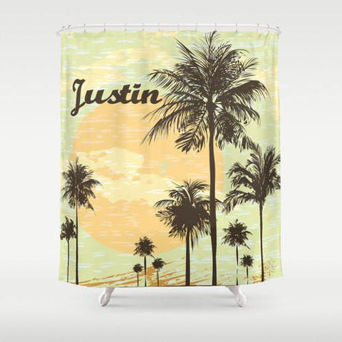 California Cool, Palm Trees  Personalized Shower Curtain
