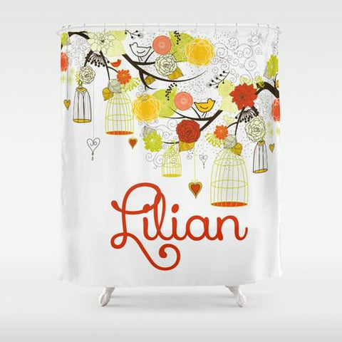 Beautiful Birdcage, Citrus Colors  Personalized Shower Curtain