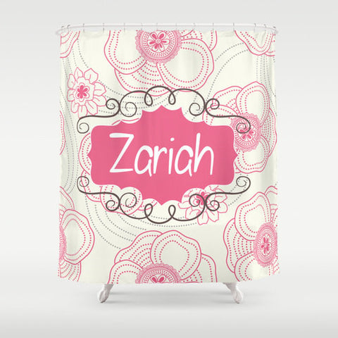 Pink Sketch Flowers   Personalized Shower Curtain
