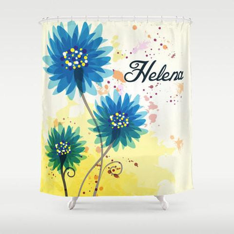 Blue & Yellow Sunflower  Personalized Shower Curtain