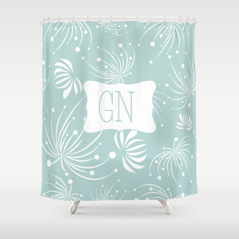 Sky Blue & White Flowers-  Personalized Shower Curtain