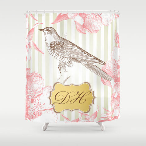 Vintage Regal Bird  Personalized Shower Curtain