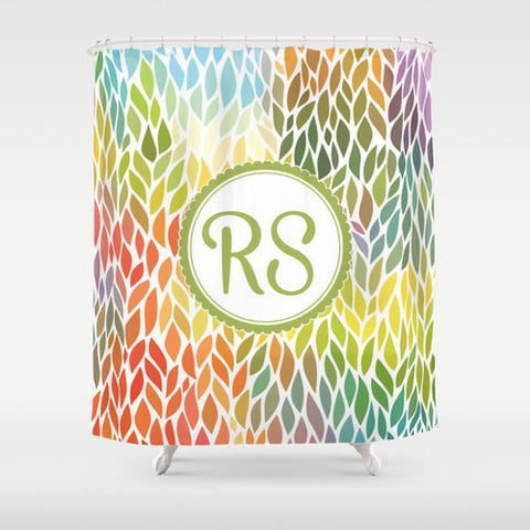 Rainbow Leaves  Personalized Shower Curtain