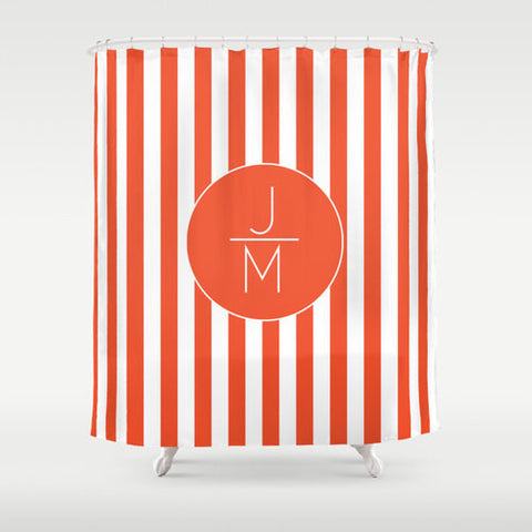 Orange Stripes  Personalized Shower Curtain