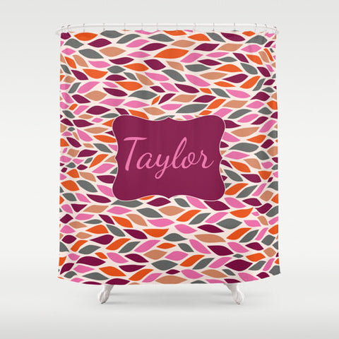Pink, Purple, Jade & Taupe Leaves  Personalized Shower Curtain