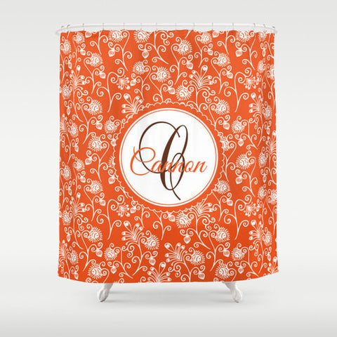 Orange Floral Scroll Personalized Shower Curtain