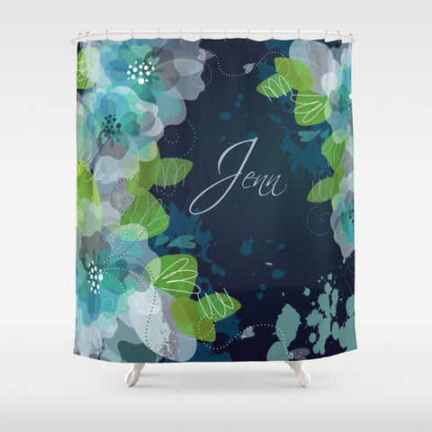 Teal & Green  Watercolor Monogram Shower Curtain