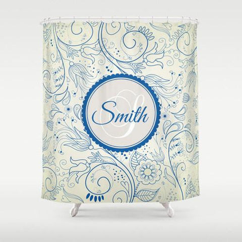 Blue Floral  Personalized Shower Curtain