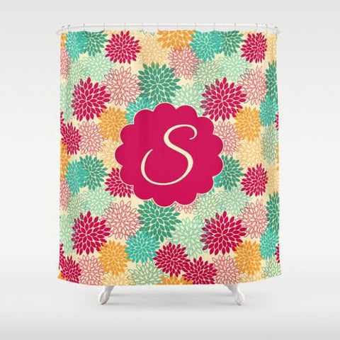 Colorful Flower Bursts  Personalized Shower Curtain
