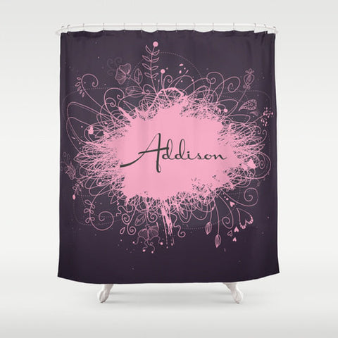 Pink & Purple Splatter  Personalized Shower Curtain
