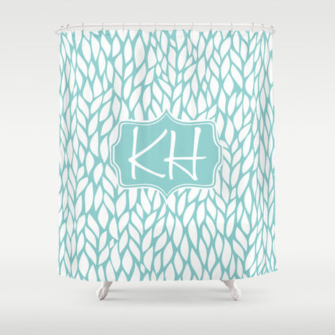 Sky Blue & White  Leaves Personalized Shower Curtain