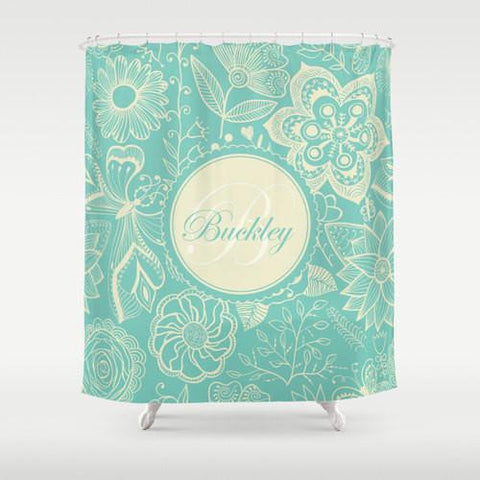 Aqua & Cream, Tiffany Blue Florals Personalized Shower Curtain