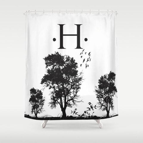 Black & White, Trees Custom Shower Curtain
