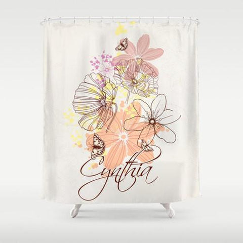 Flower Sketches Custom Shower Curtain