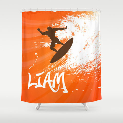 Surfs Up, Teen Bathroom Custom Shower Curtain